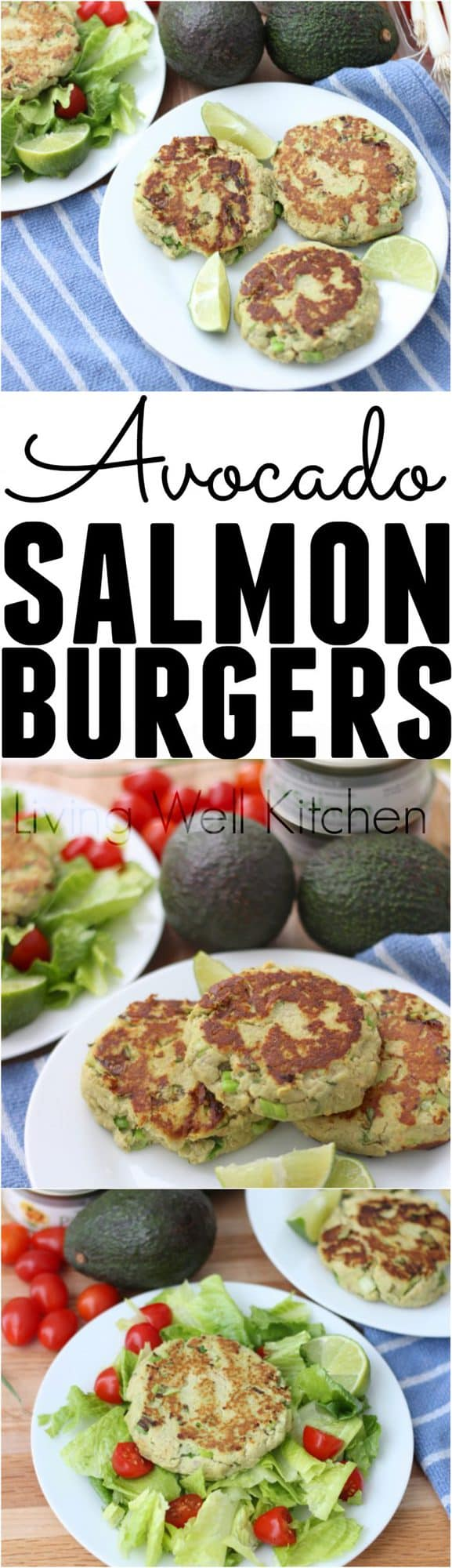 Enjoy these super nutritious, budget friendly Avocado Salmon Burgers for a high protein meal full of heart-healthy fat. Gluten free and dairy free recipe that can be made ahead