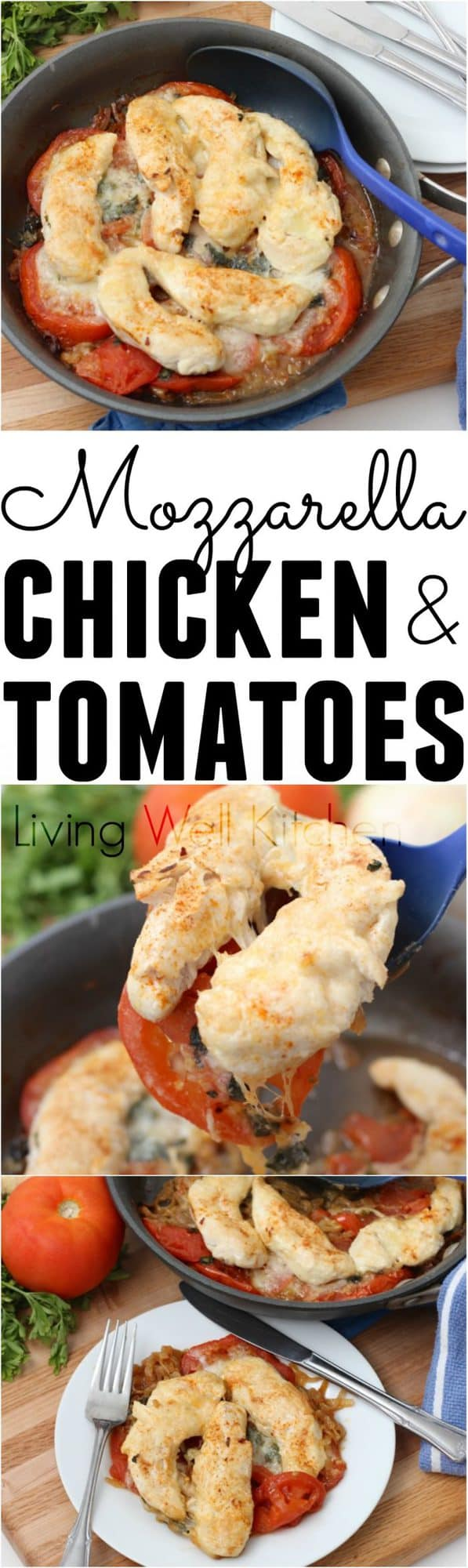Mozzarella Chicken and Tomatoes is an easy and delicious dish full of veggies and lean protein, cooked in one pan, and ready in about 40 minutes. The perfect weeknight meal!
