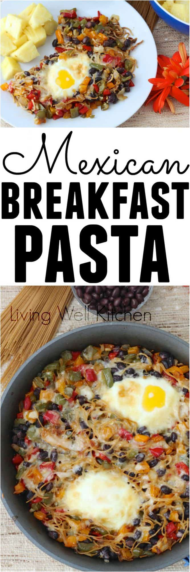 Leftover pasta turns into something incredible with veggies, eggs, and black beans to make this amazing meatless Mexican Breakfast Pasta recipe. Great for a vegetarian dinner, too!