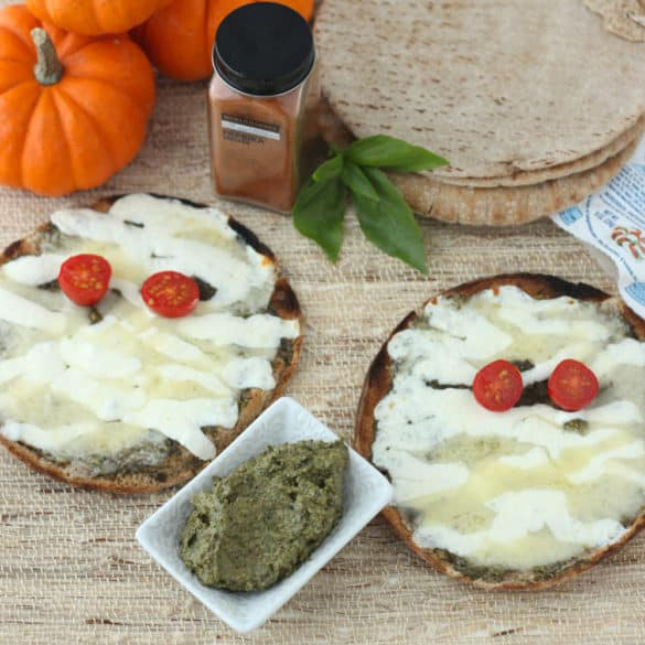 Mummy Pita Pizzas with Smoky Pesto from Living Well Kitchen @memeinge