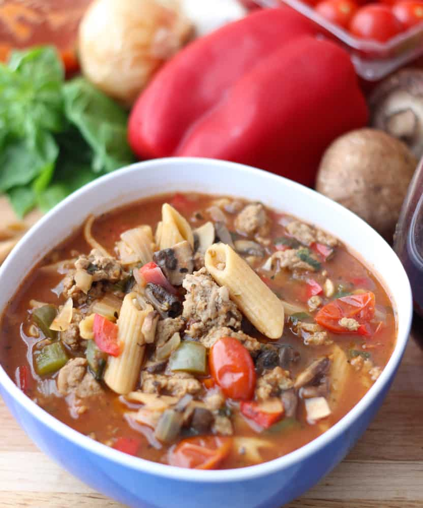 Pizza Pasta Soup recipe ~ Living Well Kitchen