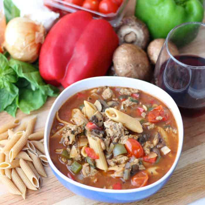 pasta, basil, mushroom, peppers, red wine, bowl of Pizza Pasta Soup