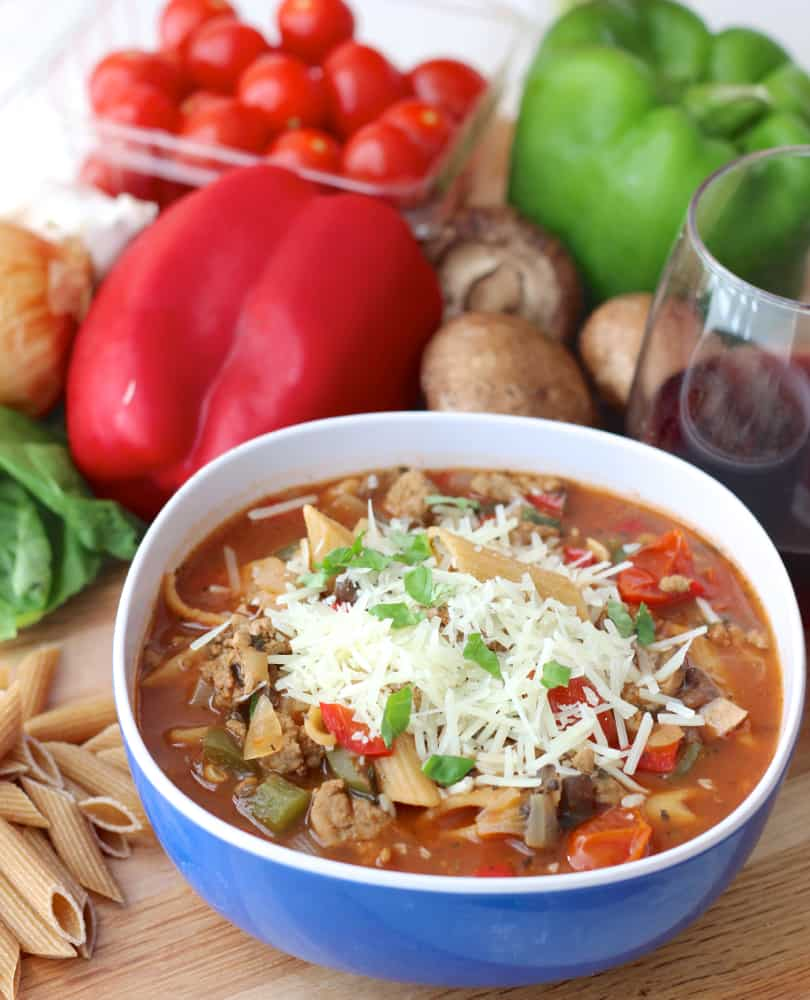 Pizza Pasta Soup recipe from Living Well Kitchen
