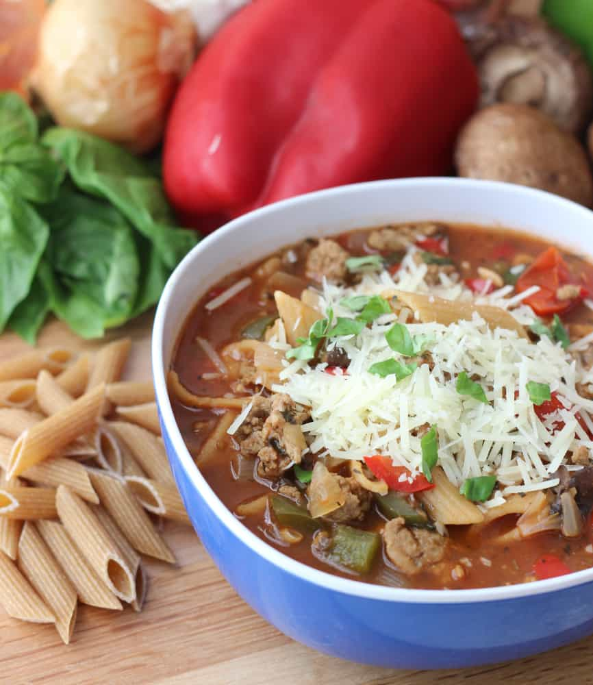 Pizza Pasta Soup ~ Living Well Kitchen