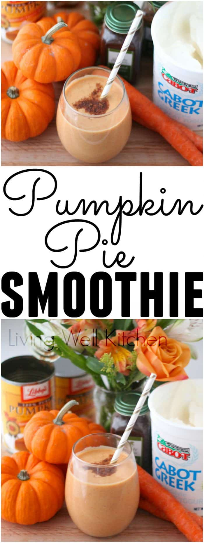 Try this Festive Pumpkin Pie Smoothie recipe from @memeinge with filling protein and fiber. This smoothie is a velvety, heavenly, fabulous post-run treat or healthy snack that has a nice amount of protein and packs in the produce with pumpkin, carrots & bananas!