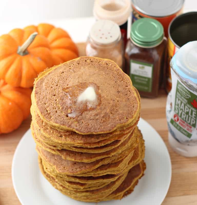 Pumpkin Protein Pancakes from Living Well Kitchen @memeinge