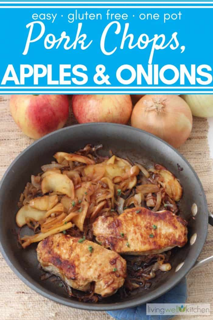 skillet with pork chops, onions, and apples