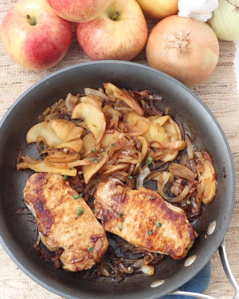 Pork Chops, Apples, and Onions from Living Well Kitchen @memeinge