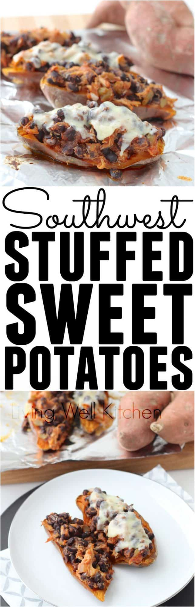 Southwest Stuffed Sweet Potato is a super easy and budget friendly dinner idea. This four ingredient recipe takes advantage of leftovers for a delicious meal that costs next to nothing.