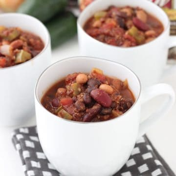 cups of Three Bean and Quinoa Chili