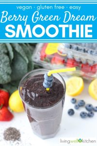 smoothie with straw and blueberries
