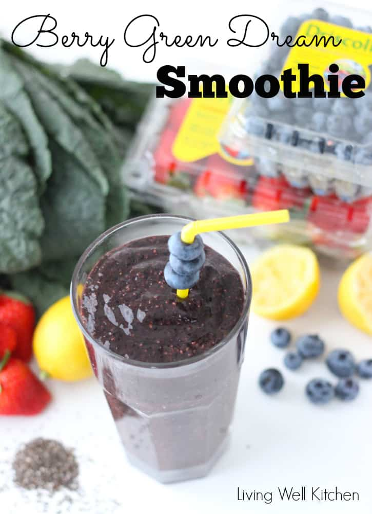 Berry Green Dream Smoothie from Living Well Kitchen is filled with so much goodness in one delicious glass! @memeinge