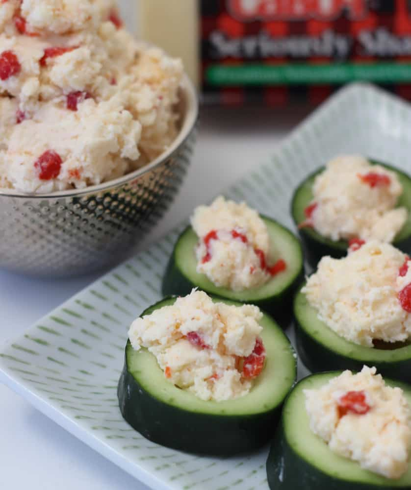 Pimento Cheese Cucumber Bites from Living Well Kitchen
