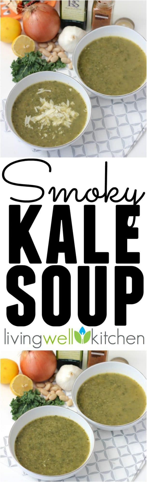 Smoked paprika gives a subtle smoky flavor to this vegan soup packed with kale. Smoky Kale Soup recipe from @memeinge is a great lunch or dinner idea that fits any lifestyle (vegan, gluten free, dairy free, bacon-lover, etc.)