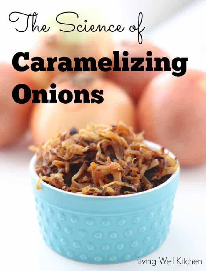 """Caramelized onions in a blue bowl with """"The Science of Caramelized Onions"""" written on the photo"""