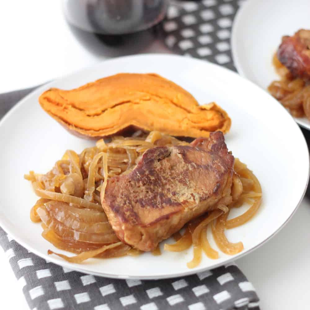 Slow Cooker Maple Mustard Pork and Onions from Living Well Kitchen