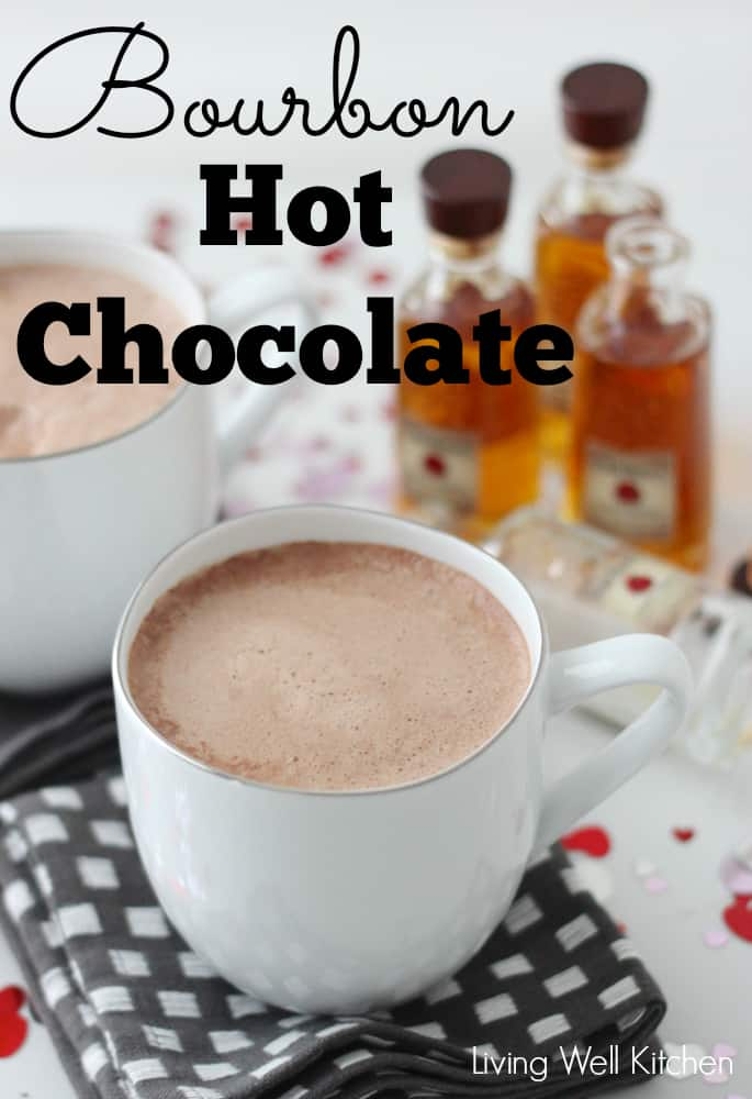 """white cup of hot cocoa with """"Bourbon Hot Chocolate"""" written on top of photo"""