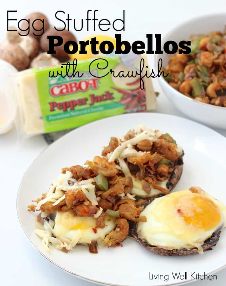 Egg Stuffed Portobellos with Crawfish from Living Well Kitchen