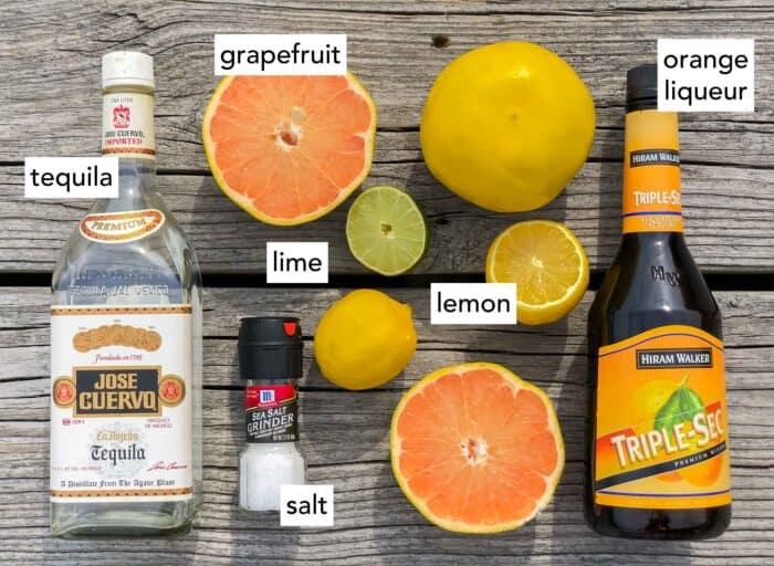 tequila, grapefruit, salt, lime, lemon, triple sec