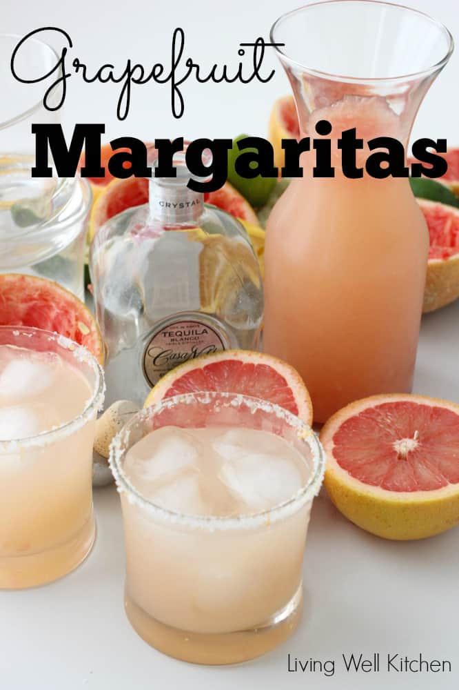 Fresh grapefruit, lemon, and lime juice take this bright and flavorful margarita to the next level of delicious ~ Grapefruit Margaritas from Living Well Kitchen @memeinge
