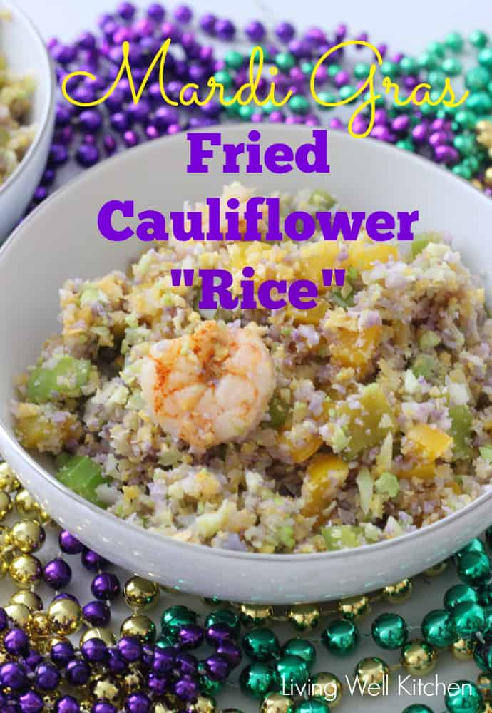 Colorful, quick, and festive Mardi Gras Fried Cauliflower