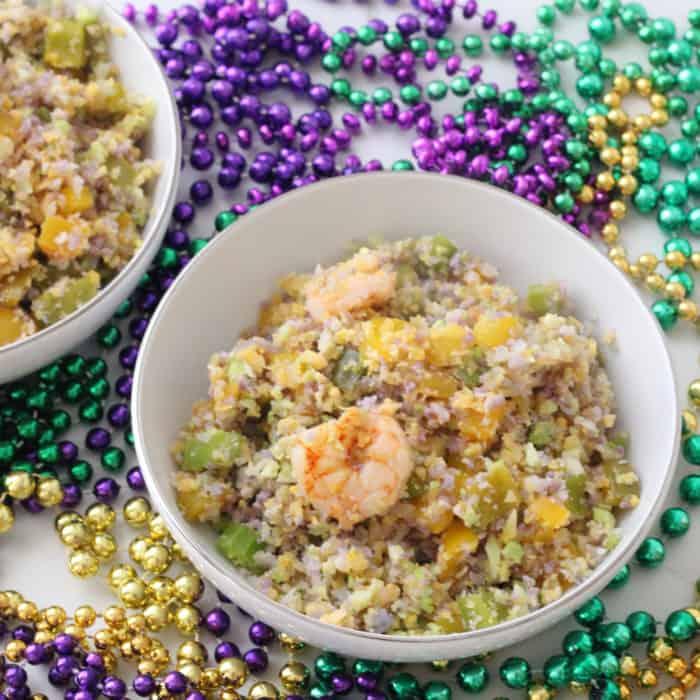 Mardi Gras Fried Cauliflower Rice from Living Well Kitchen