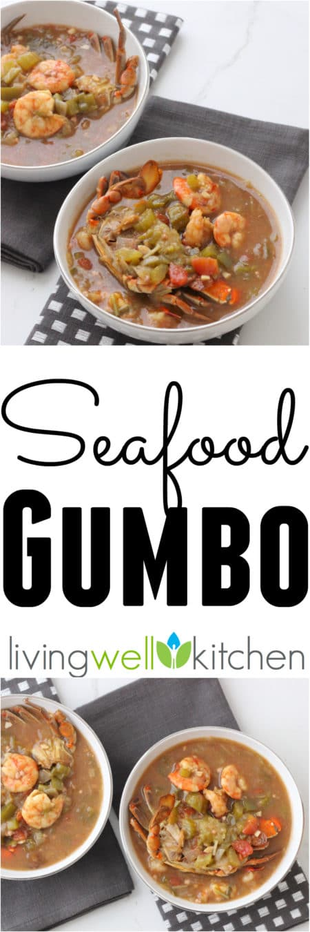 Seafood Gumbo from @memeinge is a comforting, healthy bowl of goodness full of seafood and veggies. This delicious soup recipe can easily be made gluten free and freezes well