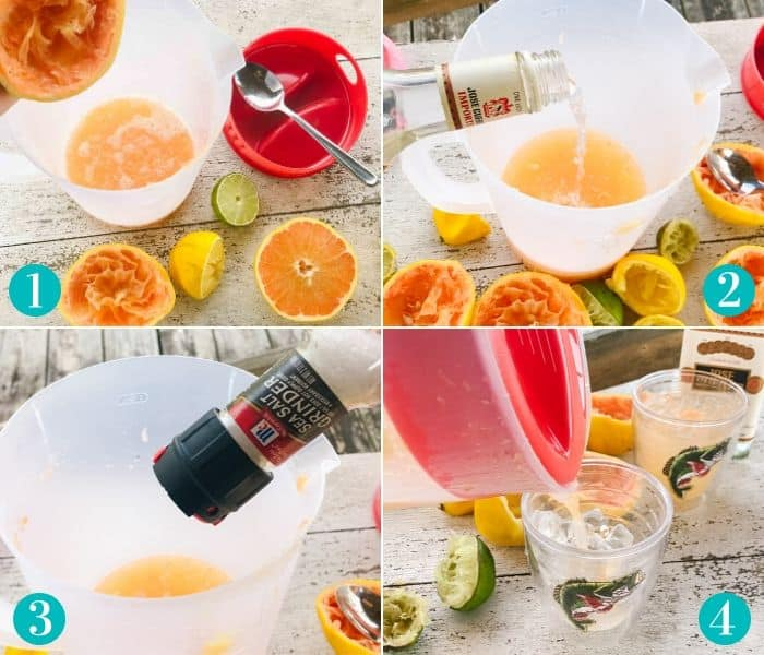 juicing grapefruit and adding salt and tequila to juice. pouring drink into cup of ice