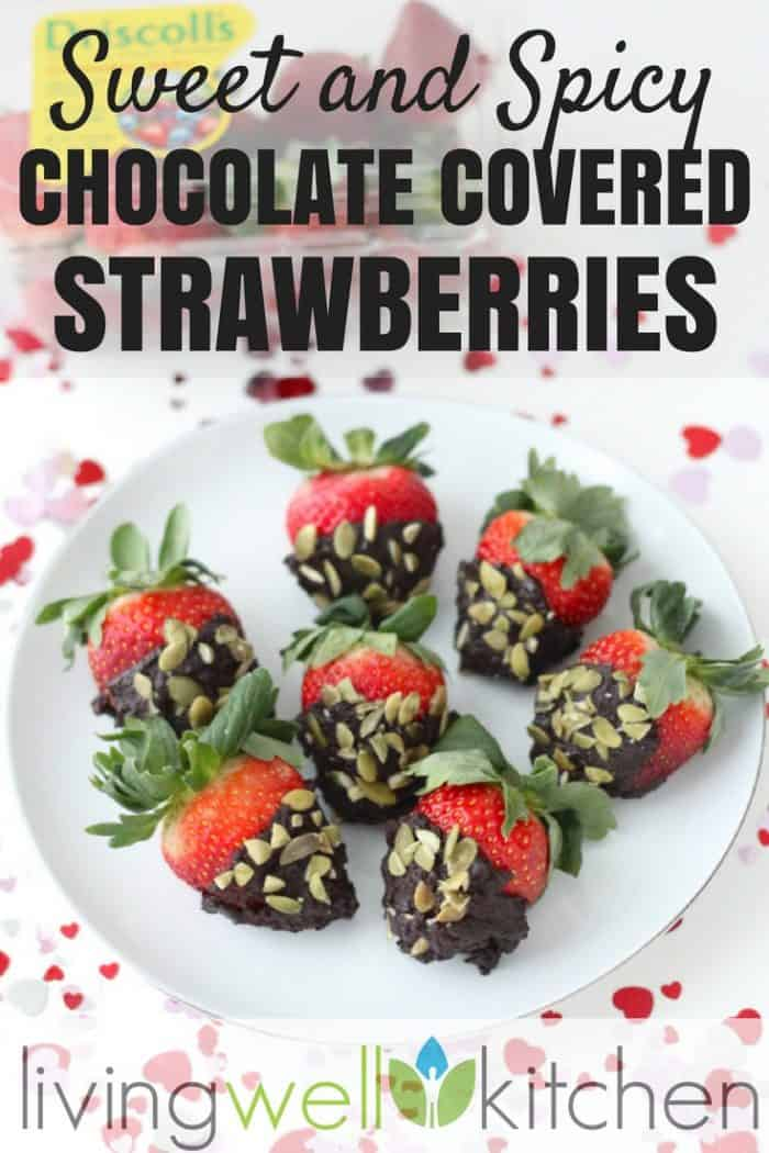 Sweet and Spicy Chocolate Covered Strawberries are little packages of chocolatey, sweet, and spicy treats for a delicious and nutritious dessert. Recipe is vegan, gluten free, and sweetened only with maple syrup