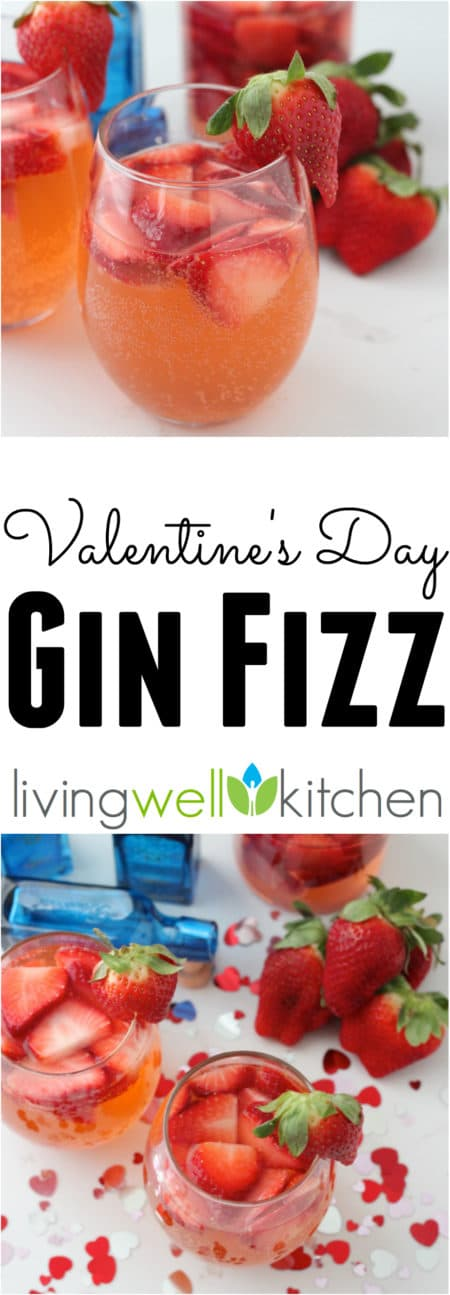 Five ingredients makes this easy, fun, and festive Valentine's Day Gin Fizz recipe from @memeinge the perfect cocktail recipe idea for Valentine's Day (sponsored)