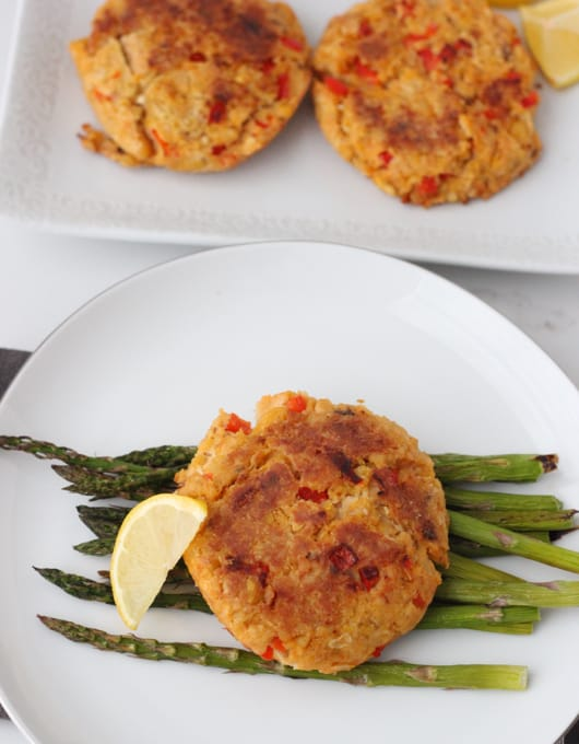 Chickpea Salmon Burgers with lemon and asparagus