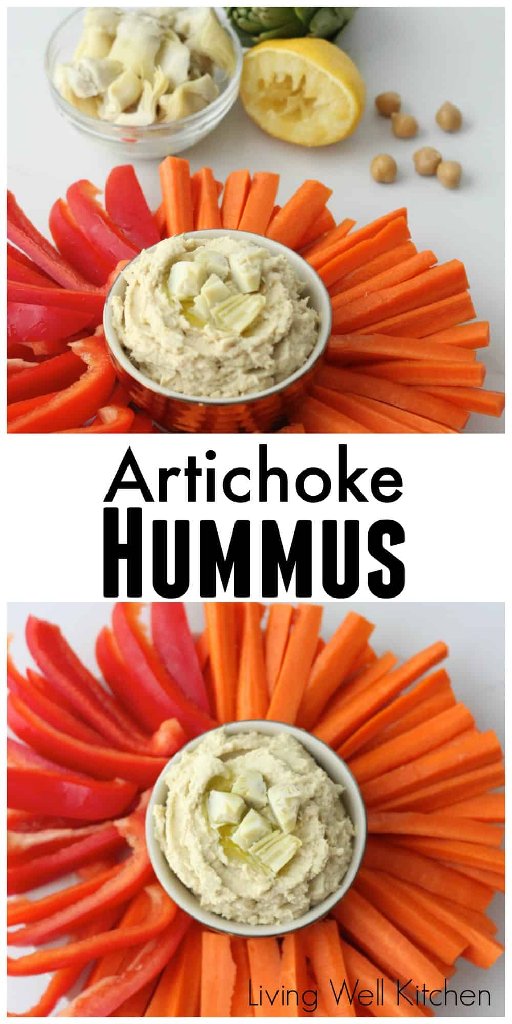 Easy homemade Artichoke Hummus made with canned artichoke hearts and chickpeas. Easy, budget friendly, and delicious! from Living Well Kitchen @memeinge