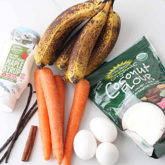 maple syrup, bananas, carrots, vanilla beans, cinnamon sticks, eggs, coconut flour