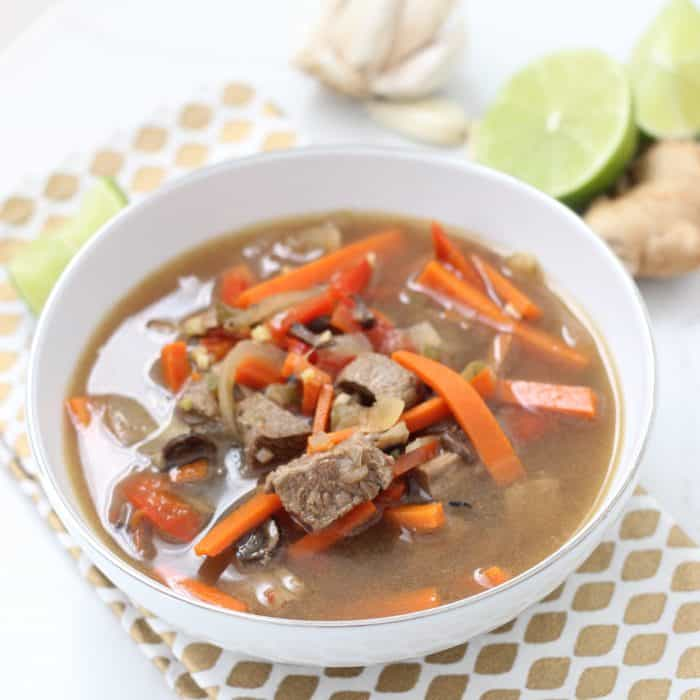 bowl of ginger beef soup