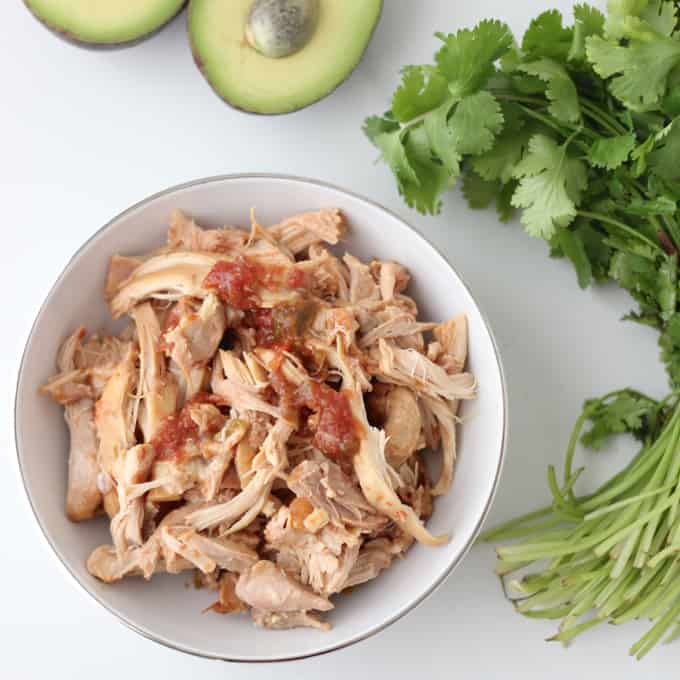 Salsa Chicken with cilantro and avocados