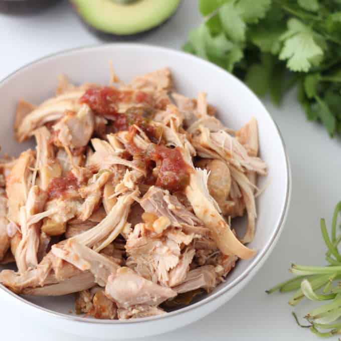 bowl of Salsa Chicken with cilantro