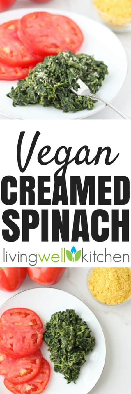Vegan Creamed Spinach recipe from @memeinge. Nutritional yeast lends a cheesy, creamy flavor for an easy, inexpensive, and flavorful side dish. Gluten free, dairy free, vegetarian