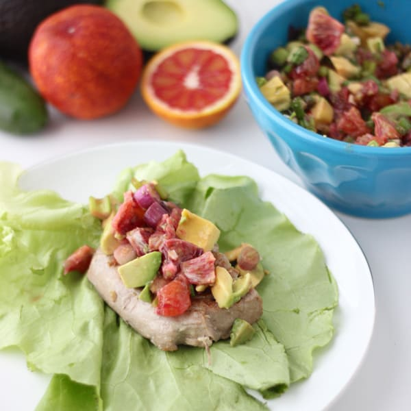 Tuna Wraps with Avocado and Blood Orange Salsa from Living Well Kitchen