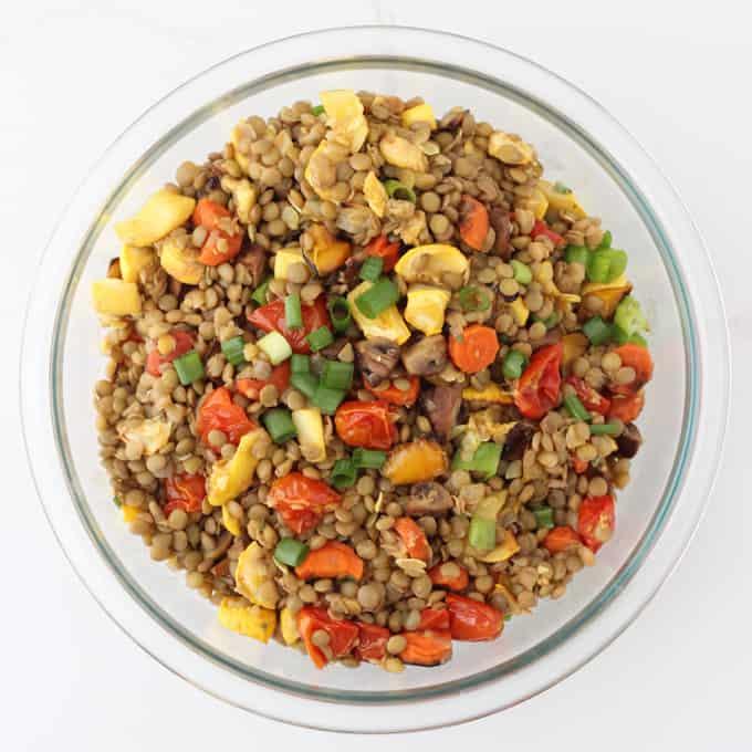 large bowl of Roasted Vegetable Lentil Salad
