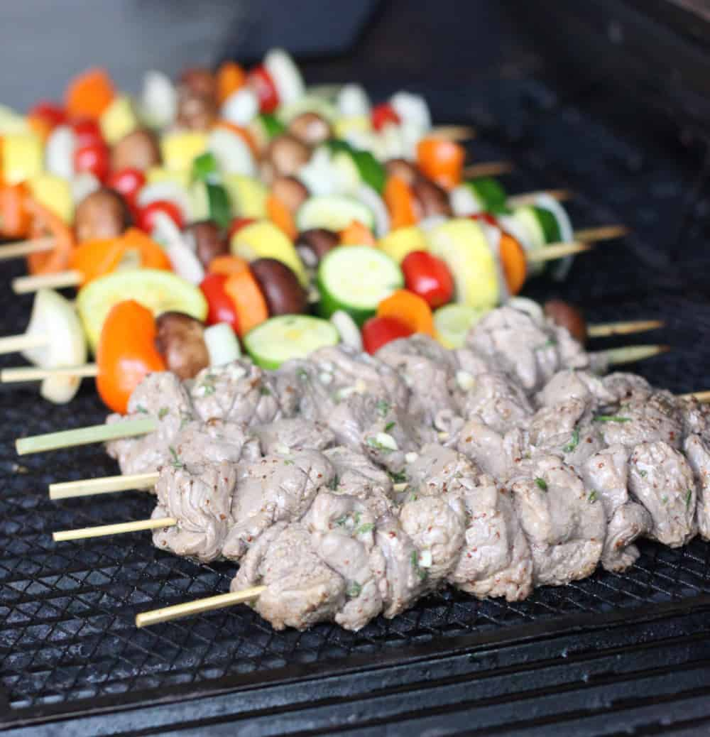 lamb and vegetable kabobs on the grill
