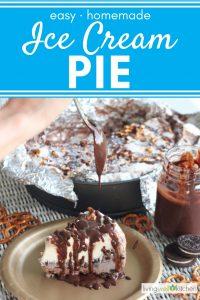 spoon dripping chocolate sauce onto ice cream pie with pretzels