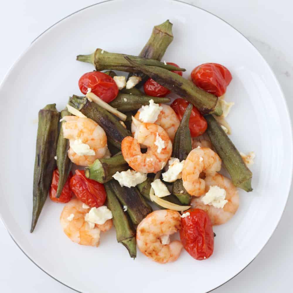 Roasted Shrimp, Okra and Tomatoes