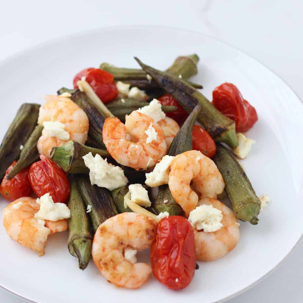 Roasted Shrimp Okra and Tomatoes from Living Well Kitchen