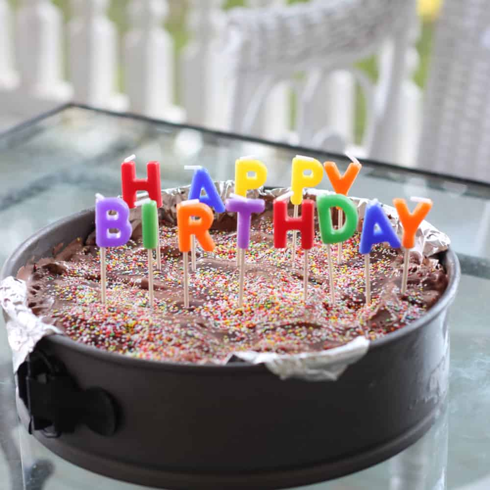 Ice Cream pie in springform pan with happy birthday candles