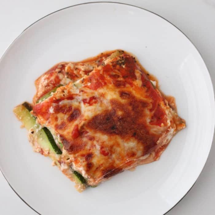 white plate with Zucchini Lasagna slice