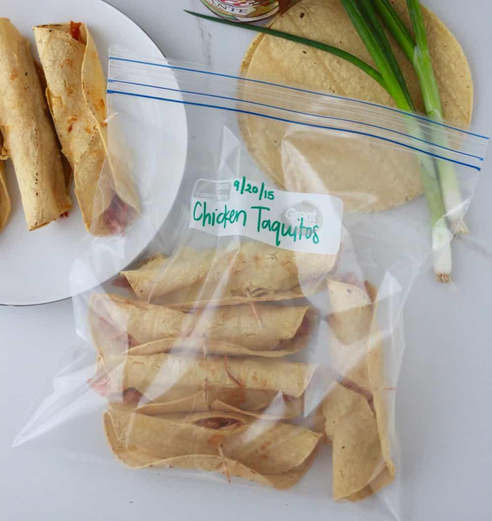 Freezer Chicken Taquitos from Living Well Kitchen @memeinge