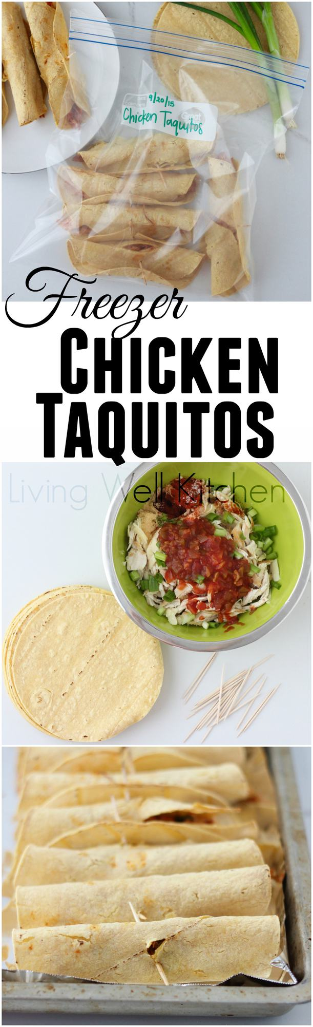 Make a batch of chicken taquitos to keep in the freezer when you need a quick snack ~ Freezer Chicken Taquitos from Living Well Kitchen @memeinge