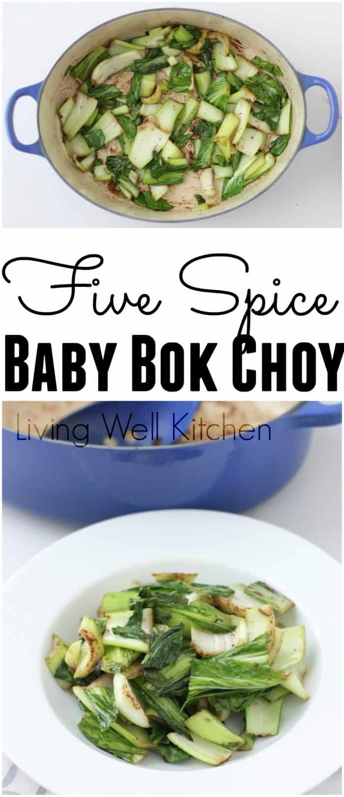 It doesn't get much better than this flavor-packed side dish ready in 10 minutes. Five Spice Baby Bok Choy is easy and a delicious way to get in this nutritious cruciferous veggies. This recipe is gluten free, dairy free, and soy free