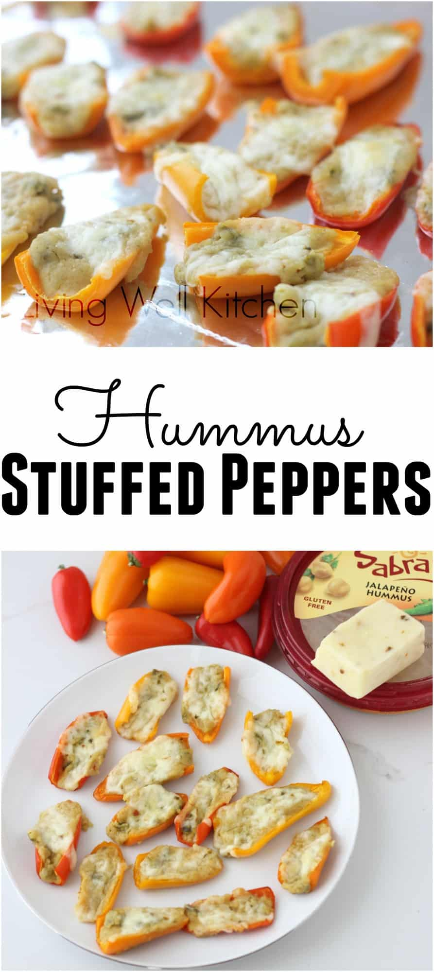 Hummus stuffed peppers are a great three ingredient appetizer that are creamy, spicy, and delicious! from Living Well Kitchen @memeinge