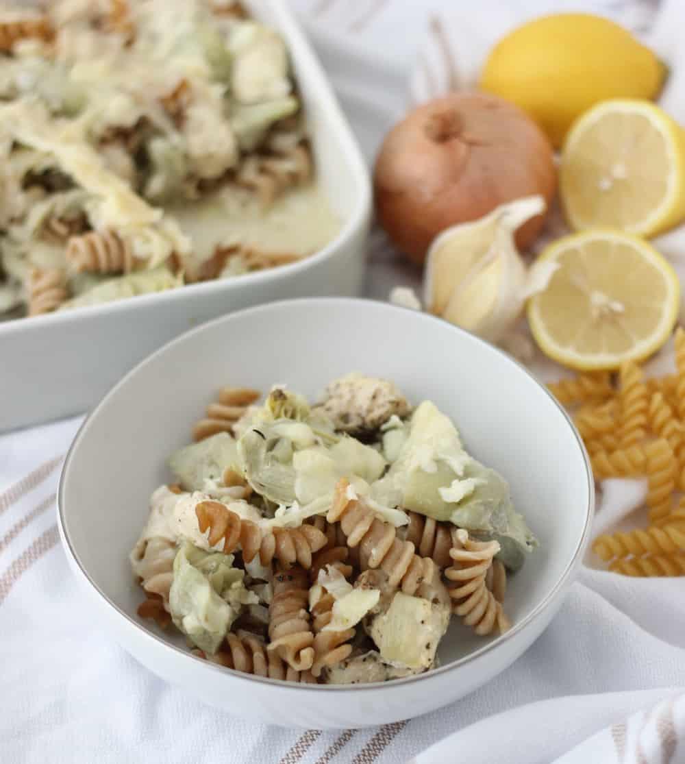 Lemon Chicken Pasta Casserole from Living Well Kitchen
